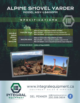 Brochure (back) for Alpine Shovel Yarder ASY-LS600FM