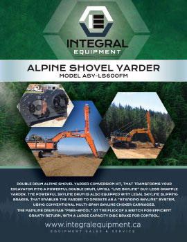 Brochure (front) for Alpine Shovel Yarder ASY-LS600FM