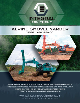 Brochure (front) for Alpine Shovel Yarder ASY-RS400