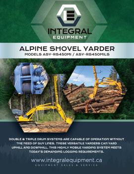 Brochure (front) for Alpine Shovel Yarder ASY-RS400MI / ASY-RS400MILS
